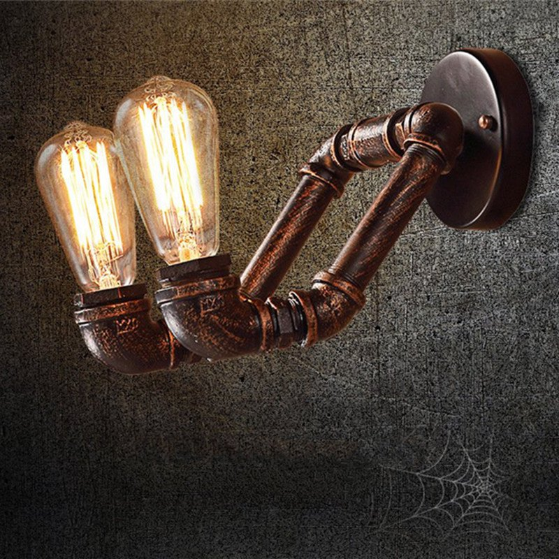 Vintage Creative personality retro iron wall lamp American Double head Industrial bar wall light water pipe Edison wall light personality creative rope restaurant wall light simple pastoral iron retro wall lamp double section turner lighting
