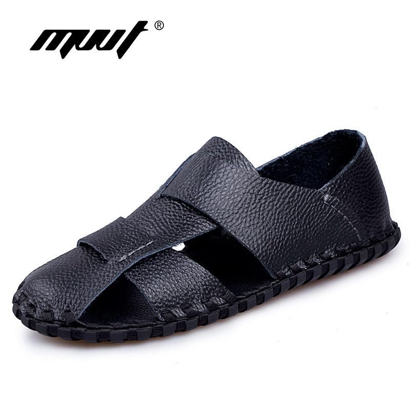 2017 New style summer sandals men soft leather comfortable men sadnals quality black shoes men sandals