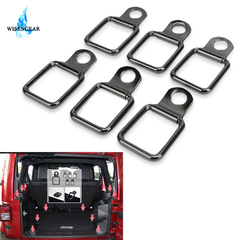 6Pcs Tie-down D-ring For Jeep Wrangler JK 2007-2018 Factory Tie Down Styling Trunk & Cargo Net Cover Car interior Acessories image