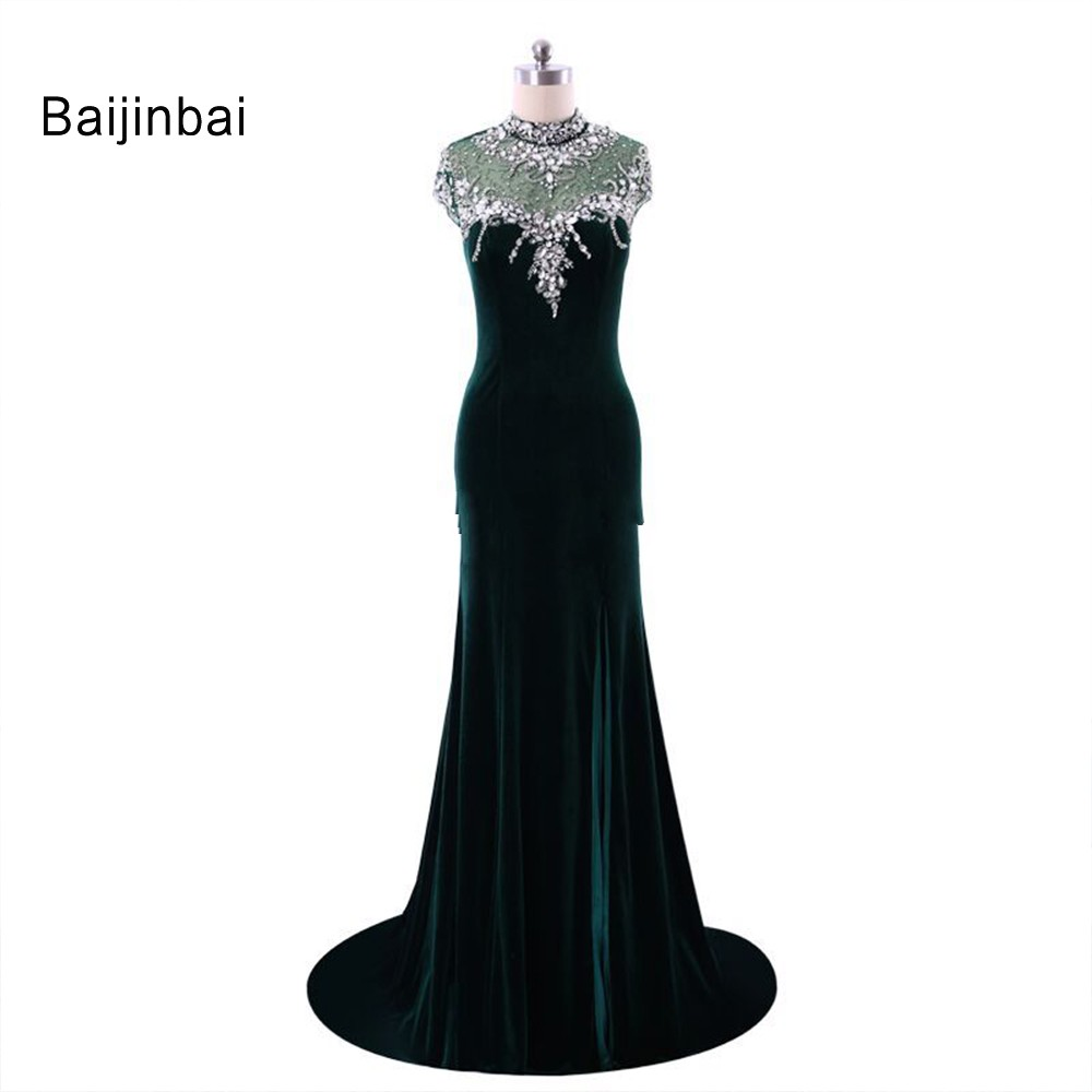 Baijinbai New Fashion Velvet   Prom     Dresses   2019 For Special Occasion High Neck Sexy Mermaid Crystal Beaded Cap Sleeve S120101