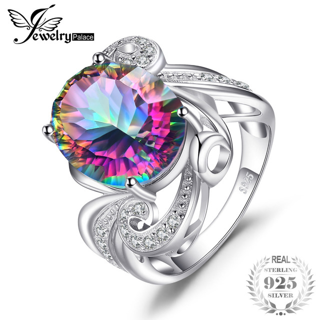 JewelryPalace 12.7ct Genuine Rainbow Fire Mystic Topaz Ring Solid 925 Sterling S