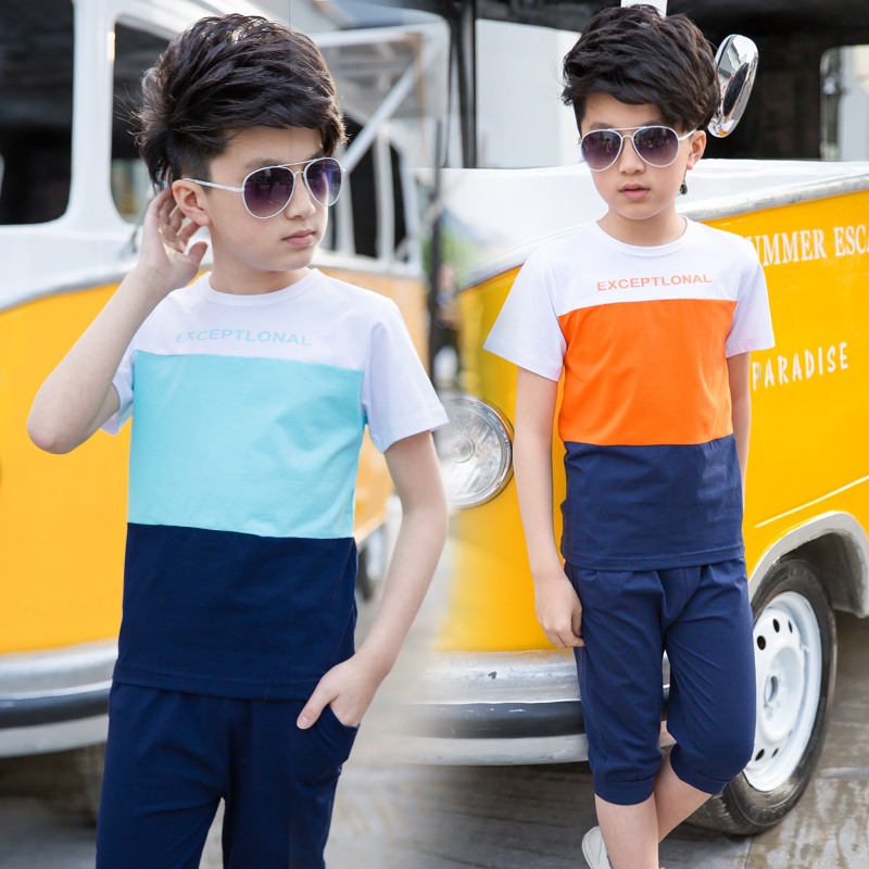 2018 Hot The Child's Summer Boys Suit New Kids Clothes Sports Sets Sailing Short Sleeved T-shirt+pants 4-14 Ages Free Shipping