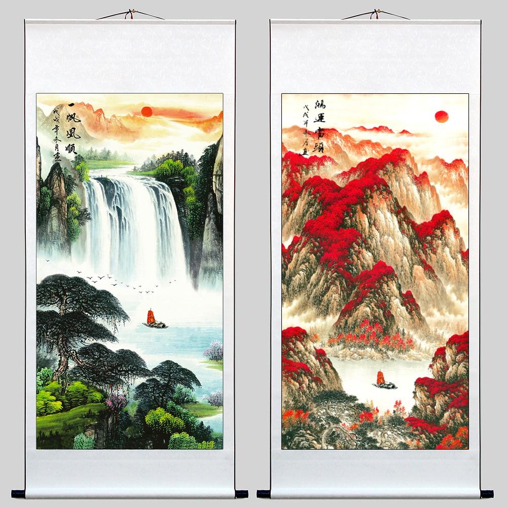2 pièces # TOP cadeau d'affaires # maison bureau mur décoratif art-montagne coucher de soleil lueur paysage ART FENG SHUI soie peinture