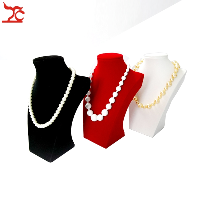 Wood Jewelry Display Chest White Faux Leather Black Red Velvet Necklace Chain Jewelry Display Stand Holder 22CM