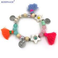Женский браслет с кисточками boho цветной кристаллами и бусинами