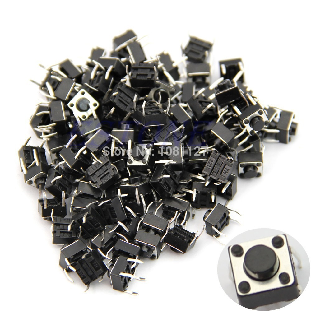 High quality B76 100pcs Tactile Push Button Switch Momentary Tact 6x6x5mm DIP Through-Hole 4pin IC ...