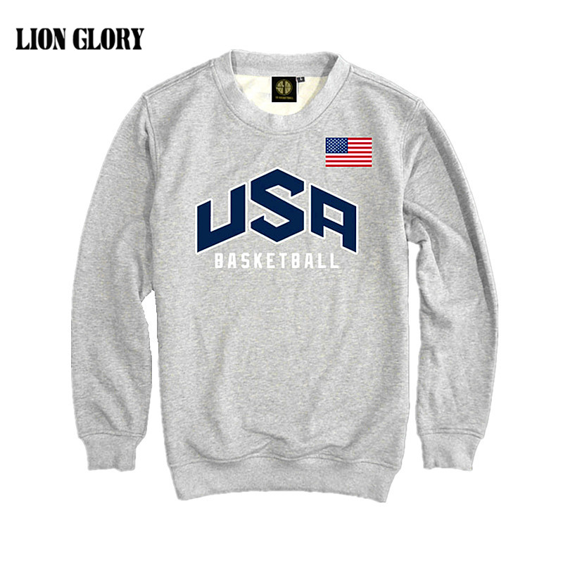 Lelaki Pullover USA Basket-ball Dream Team Sweatshirt Hoodie Pepejal Warna Lelaki Kasual Long Sleeve Sweatshirt T-shirt US Hoodies