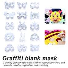 Super Cute Art Crafts Toys DIY Party Blank Mask Animal Designs Kids Hand Painting Kindergarten Preschool Graffiti