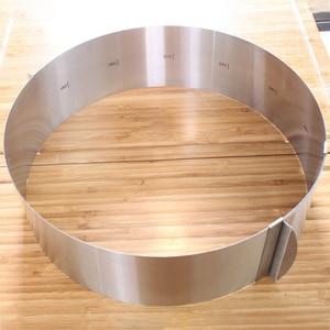 Image 3 - قابل للسحب طوق من الفولاذ المقاوم للصدأ رغوة حلقة كعكة الخبز أداة مجموعة حجم شكل قابل للتعديل خبز الفضة ل أدوات مطبخ