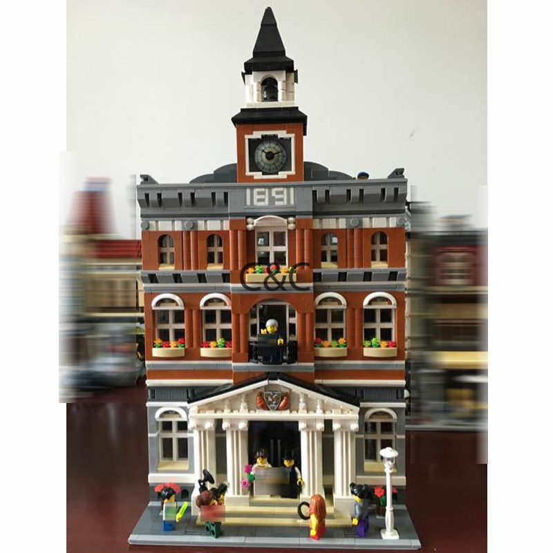 DHL New 2859Pcs 2016 15003 Kid's Toys The town hall Model Building Kits Building Blocks Bricks Toys For chilren as Gift 10224 new lepin 15003 2859pcs the topwn hall model building blocks kid toys kits compatible with 10224 educational children day gift