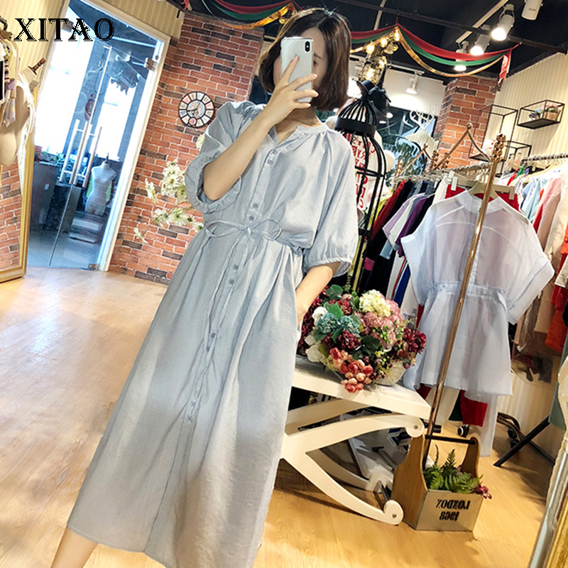 [XITAO] 2018 Summer New Korea Casual Women Striped Bandage Single Breasted Dress Female Stand Collar Half Sleeve Dress KZH753 contrast striped single breasted dress
