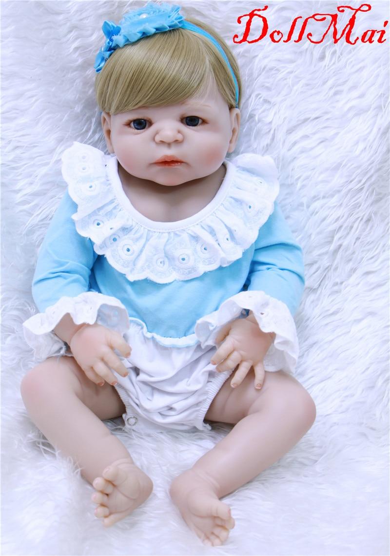 Bebe girl reborn 55cm blond hair silicone reborn baby dolls children ...