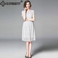Simgent Summer Dress Women Short Sleeve Slim Elegant Casual A Line Hollow Out Lace White Dress Robe Femme Vestido Jurken SG9551