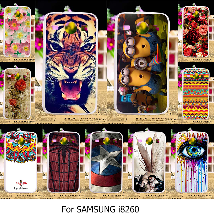 Soft TPU Hard Plastic Cover Cases For Samsung Galaxy Core I8260 I8262 4.3 inch GT-I8262 8260 GT i8262 8262 Phone Case Back Hood