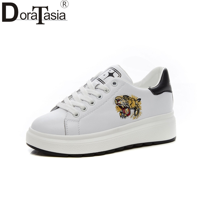 DoraTasia New Fashion Genuine Leather Patchwork Round Toe Shoes Woman Casual Spring Sneakers Flats Size 35-39