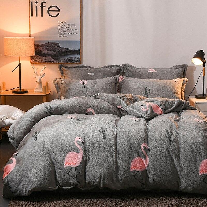 Style britannique d'hiver ensemble de literie AB côté flanelle polaire housse de couette drap plat 3/4 pcs maison literie caroset oiseau lit draps
