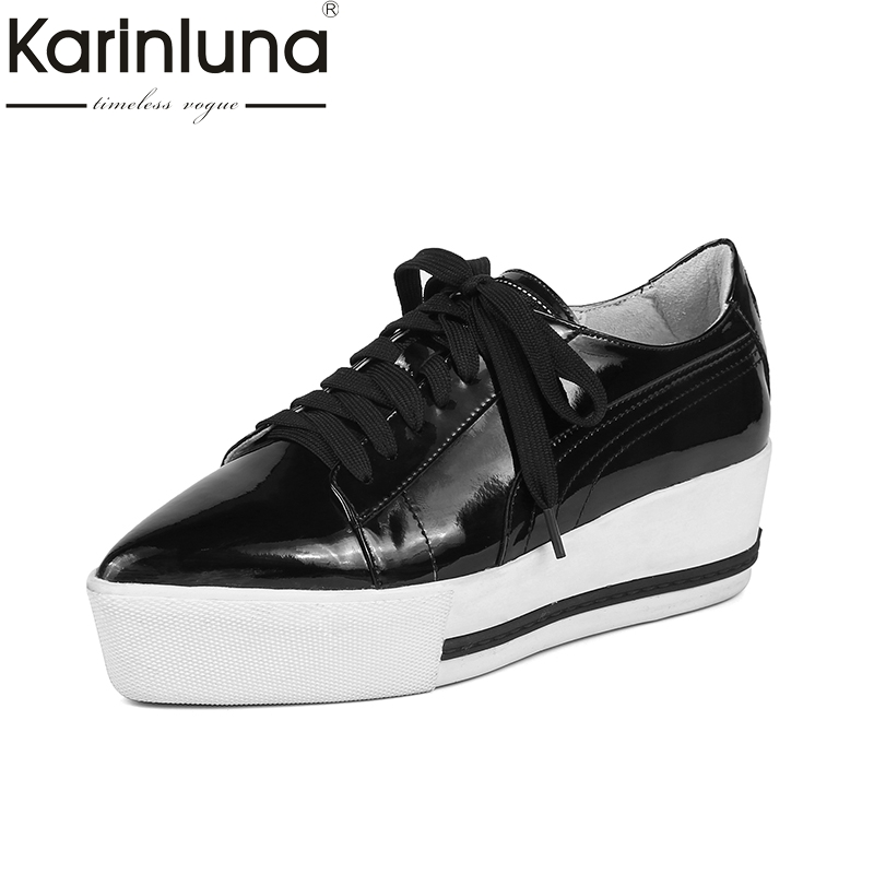 KarinLuna 2018 New Top Quality Patent Leather Flat Platform Shoes Women Fashion Comfort Spring Casual Shoes Footwear women s shoes 2017 summer new fashion footwear women s air network flat shoes breathable comfortable casual shoes jdt103