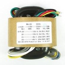 30VA 純銅 R コア電源トランス 30 ワット 15VX2 + 6VX2 ためプリアンプ Dac ヘッドフォンアンプオーディオトランス