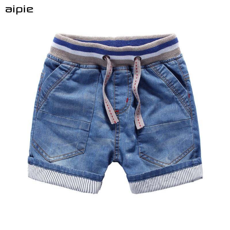 aipie Summer Children Boy's   Shorts   Solid Denim Cotton   Shorts   For 3-9 years kids wear