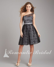 Charming Chic One Shoulder A-Line Knee Length Black Purple lace bridesmaid dresses 2014
