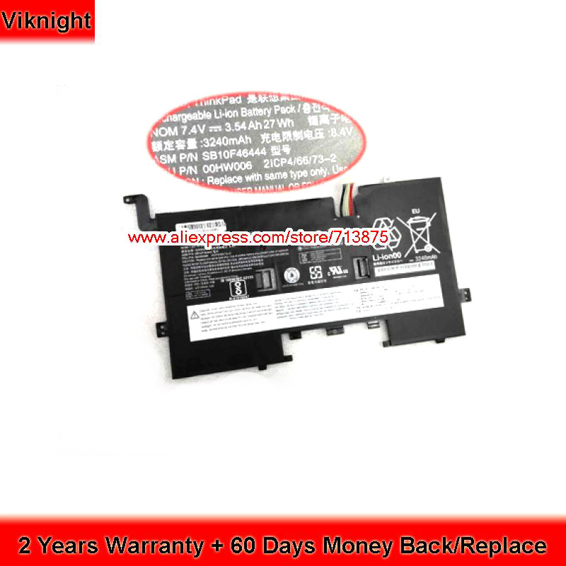 цена Genuine SB10F46444 Laptop Battery for Lenovo 00HW006 2ICP4/66/73-2 7.4V 3540mAh 27Wh