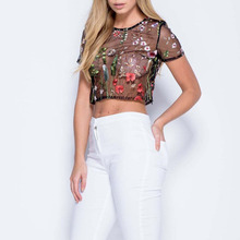 Summer t shirt women Short sleeves O-Neck Embroidery Floral  roses vogue Mesh top Sexy tee shirt femmes crop top clothes grey strip crop top with short sleeves