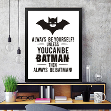 batman dark power letters unqiue slogan white and black motto design of great taste modern oil canvas painting cool home decor