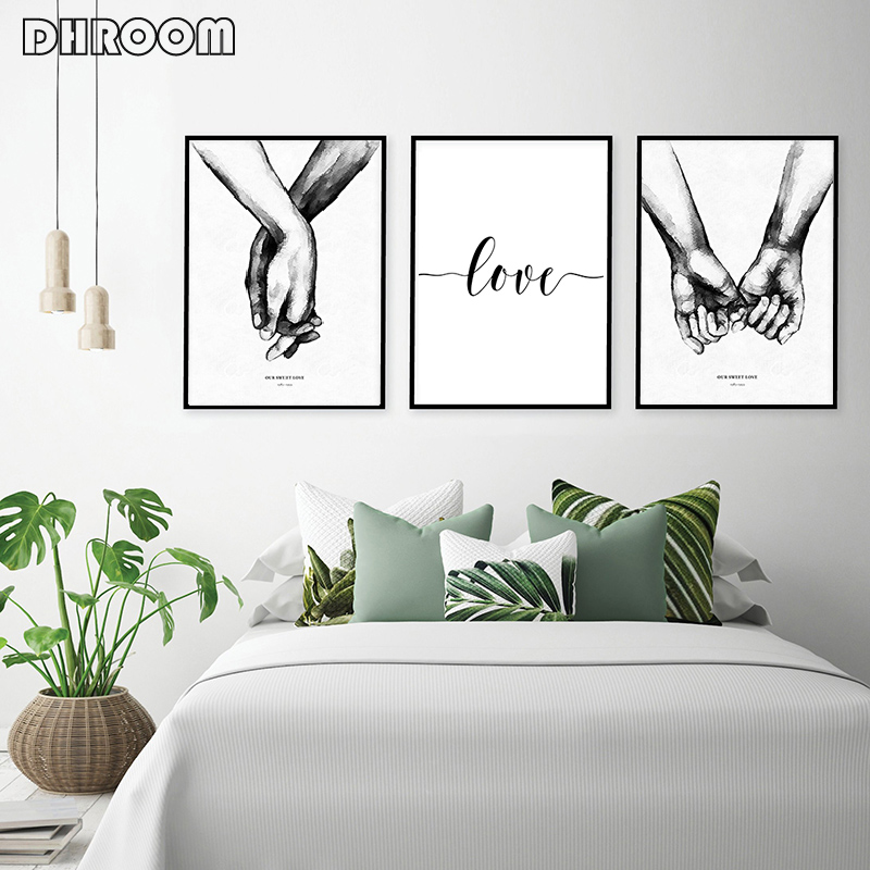 HTB1RO3 M4naK1RjSZFtq6zC2VXal Nordic Back White Style Sweet Love Wall Art Canvas Poster Minimalist Print LOVE Quotes Painting Picture for Living Room Decor