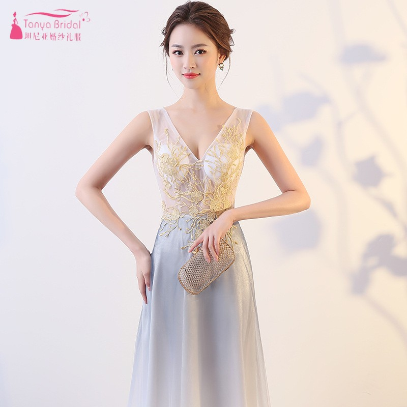 Evening Dresses Self-Conscious Tanya Bridal Appliques Illusion V Neck Sleeveless Long Backless Evening Dress Embroidery Elegant Formal Gown Prom Dresses Jq400