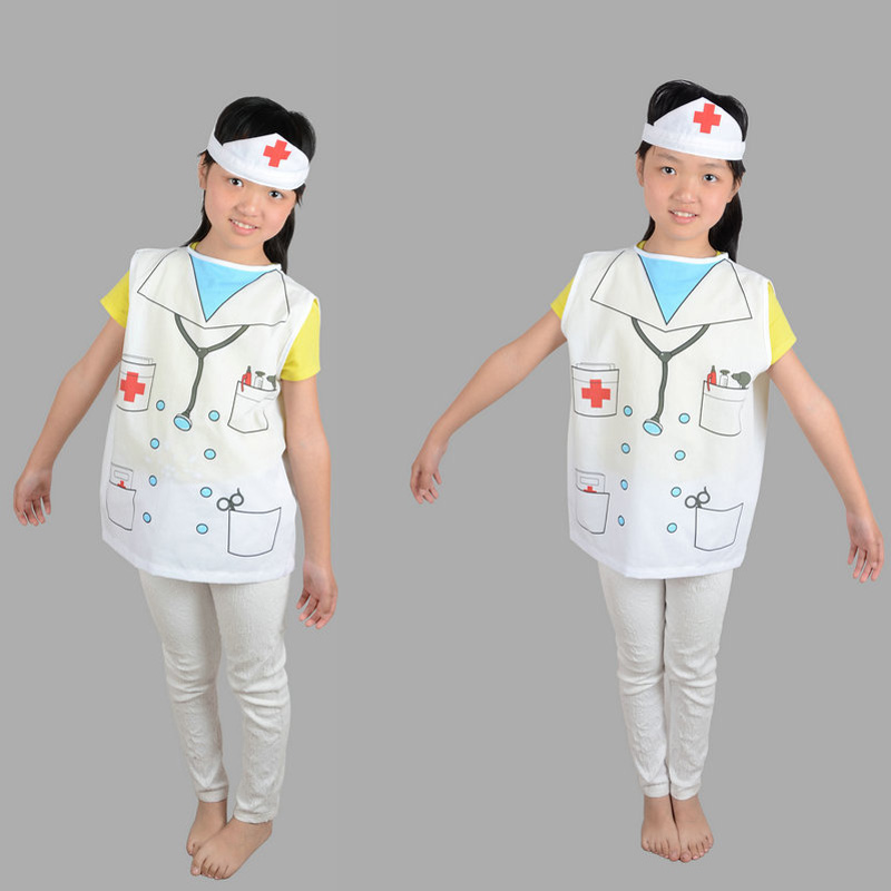 Girls Child Kids Doctor Nurse Cosplay White Fancy Hospital Dress Up Costume include Hat and Clothing