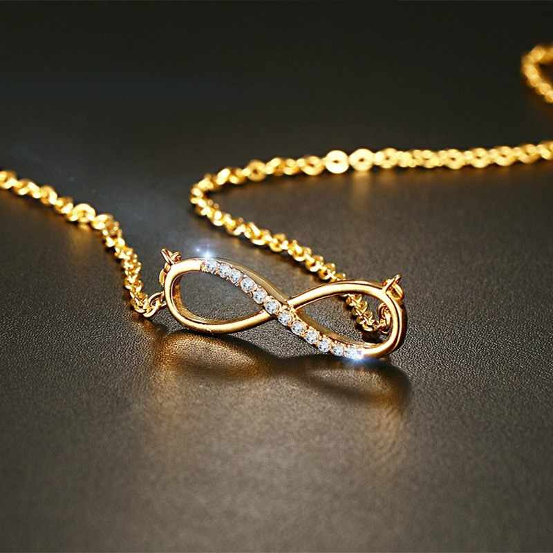 Meaeguet CZ Infinity Pendant Necklaces For Women Gold-Color Choker Charm Necklace Fashion Jewelry
