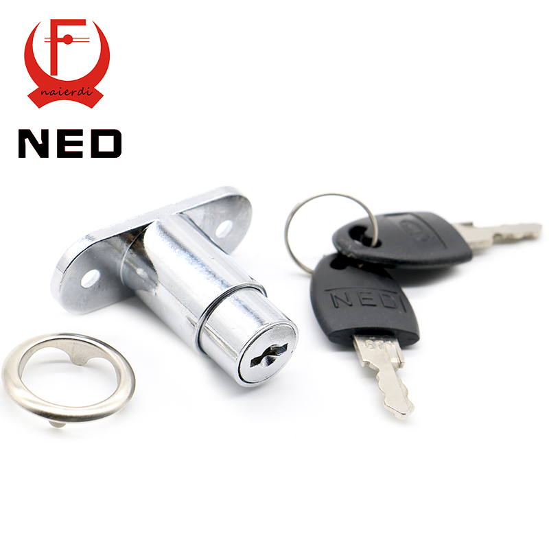 12pcs Ned105 Plunger Lock Push With 2 Keys For Sliding Glass Door Showcase Furniture Cabinet 23mm Thickness Hardware