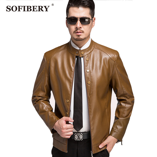 SOFIBERY Men's Coats & Jackets Leather & Suede Plus Size Fall and winter clothes men's brand leather jacket coats wild 1516