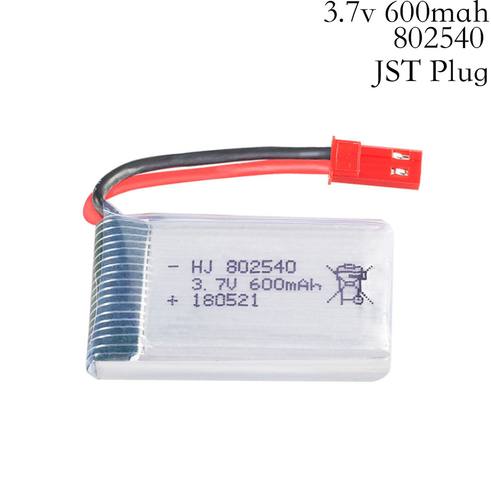 <font><b>3.7V</b></font> 600mAH Lipo Battery For 509W DFDF161 Remote control helicopter 3.7 V 600 mAH 3.7 Lipo battery JST plug <font><b>802540</b></font> 30C <font><b>3.7v</b></font> lipo image