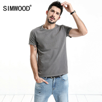 SIMWOOD 2018 Summer New T Shirt Men Slim Fit Letter Embroidered Plus Size High Quality Crew
