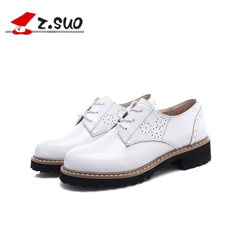 ФОТО Z.Suo Women's Black White Heels Pumps Handmade British American Vintage Oxford 100% Genuine Cow Leather Women Shoes ZS18202N