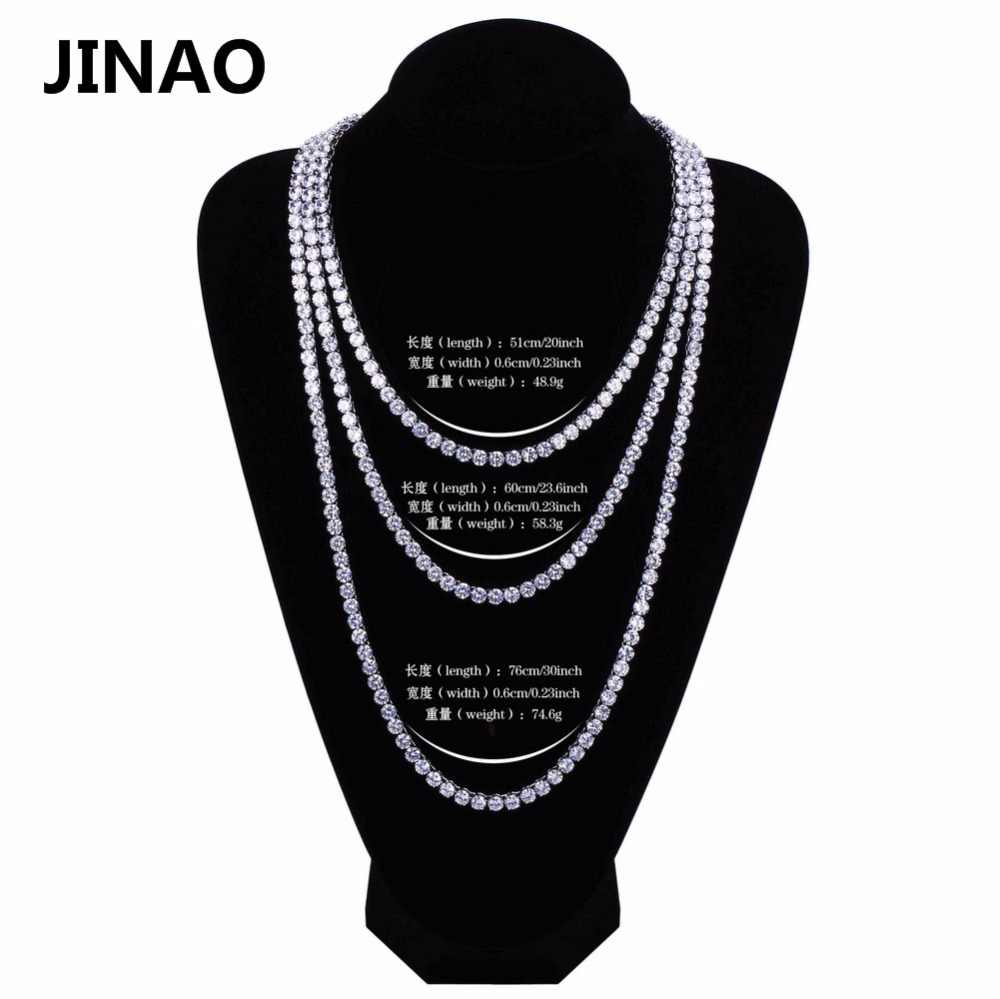 "JINAO Hip Hop Necklace Gold/Silver Color All Iced Out Copper Micro Pave CZ Stone 6mm Tennis Chain Necklace With 18""20""24""30"""