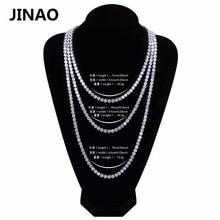 "JINAO היפ הופ שרשרת זהב/כסף צבע כל אייס מתוך נחושת מיקרו פייב CZ אבן 6mm טניס שרשרת שרשרת עם 18 ""20"" 24 ""30"""