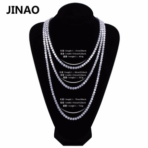 "Image 1 - JINAO היפ הופ שרשרת זהב/כסף צבע כל אייס מתוך נחושת מיקרו פייב CZ אבן 6mm טניס שרשרת שרשרת עם 18 ""20"" 24 ""30"""