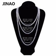"""Jinao hip hop colar ouro/cor de prata todo congelado cobre micro pave cz pedra 6mm tênis corrente colar com 18 """"20"""" 24 """"30"""""""