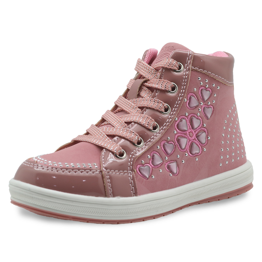 Apakowa Spring Autumn Girls Boots Pu Leather Children's Shoes With Flower Fashion Ankle Kids Shoes With Zip For Little Girls
