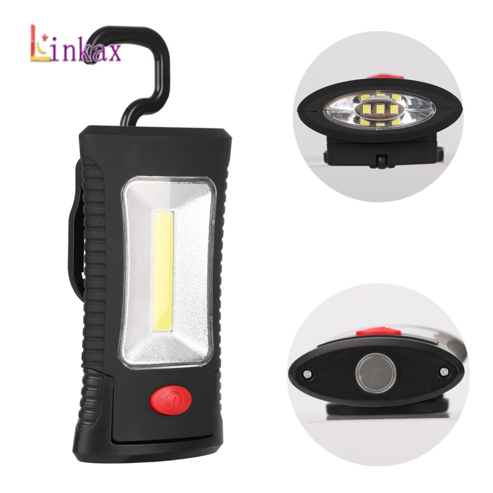 2-Modes COB LED Magnetic Working Folding Hook Light Lamp Torch Linternas Lanterna Flashlight Handy Lighting Use 3x AAA