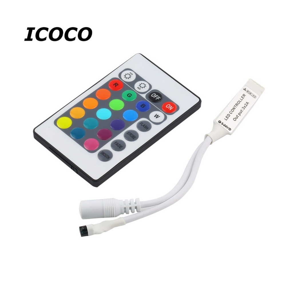 Mini 24Key IR Portable Remote Controller For SMD3528 SMD5050 RGB LED Strip Lights Mini Controller Drop Shipping Wholesale