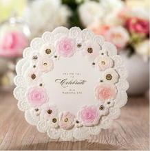 Pink Flower Wedding Invitation Cards, Free DHL and Free Personalize & Customize 100pcs/Lot CW5039