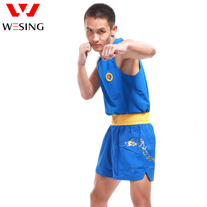 Wesing Men Wushu Sanda Uniform Stes Dragon Pattern Boxing Suits Soft Material Clothes Breathable Big Size 5XL