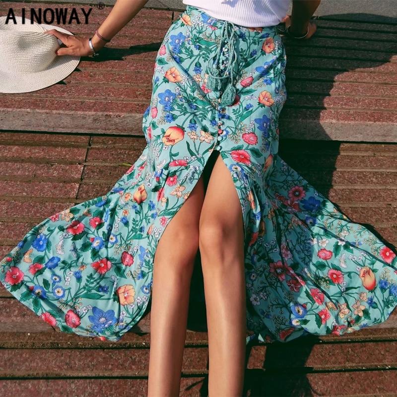 2018 summer fashion women Mesh stitching Bohemian floral print beach skirt High Elastic Waist Midi Long A-Line Boho Skirts Femme