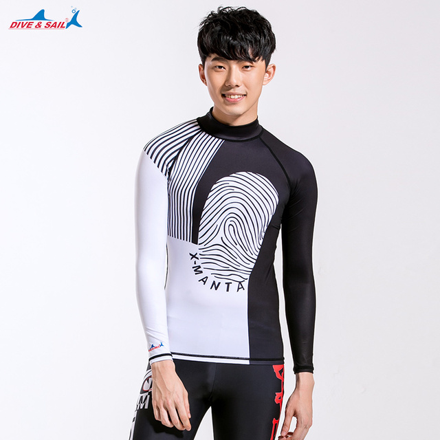 80d67cec1 Men's Basic Skin Wetsuit Long Sleeve Rashguard UV Sun Protection UPF 50+  Crew Neck Skins Rash Guard Swim Shirt