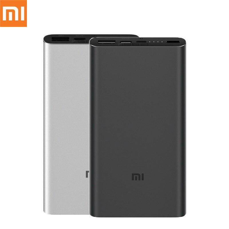 Originale batterie externe de xiaomi 3 10000 mAh USB-C 2 Voies 18 W QC3.0 Charge Rapide Banque De Puissance pour Samsung iphone Huawei Double Sortie USB