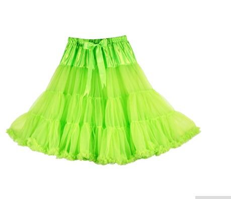 Евро ЗО, проверка, Нижняя юбка для женщин, шифоновая юбка-американка, юбка-пачка для взрослых, бальное платье, для танцев, летняя, 65 см, длинная юбка, сексуальная, однослойная - Цвет: Fluorescent green