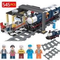 Designer Birthday Gift Sets LegoINGLYS City Train Station Locomotive Passenger Railway Model Blocks Brick Toys For Children